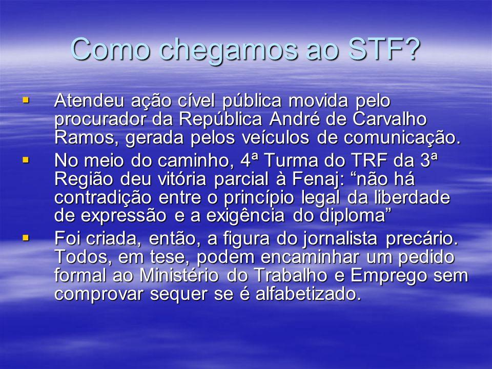 Como chegamos ao STF Atendeu ação cível pública movida pelo procurador da República André de Carvalho Ramos, gerada pelos veículos de comunicação.
