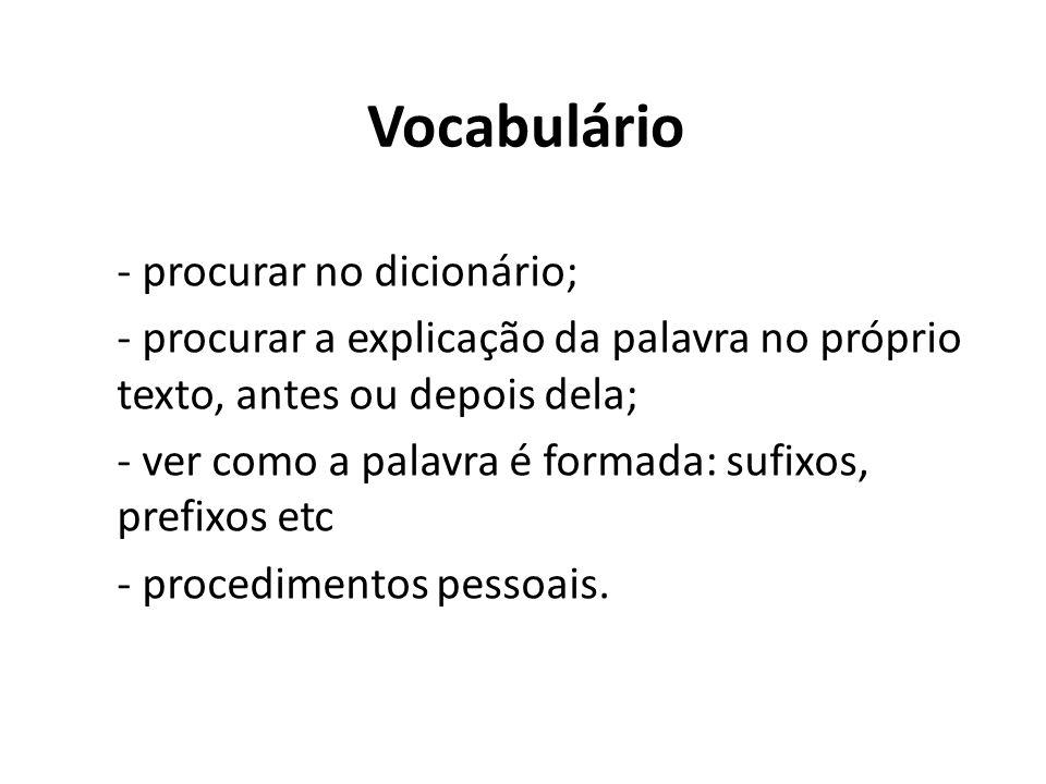 Vocabulário - procurar no dicionário;
