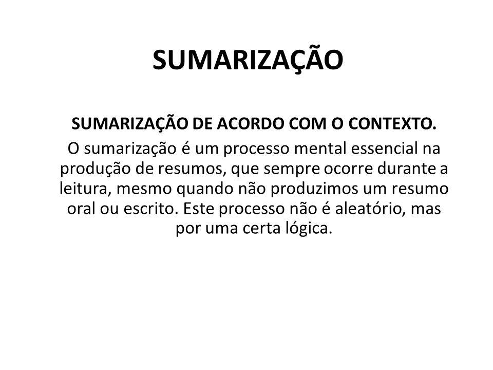 SUMARIZAÇÃO DE ACORDO COM O CONTEXTO.