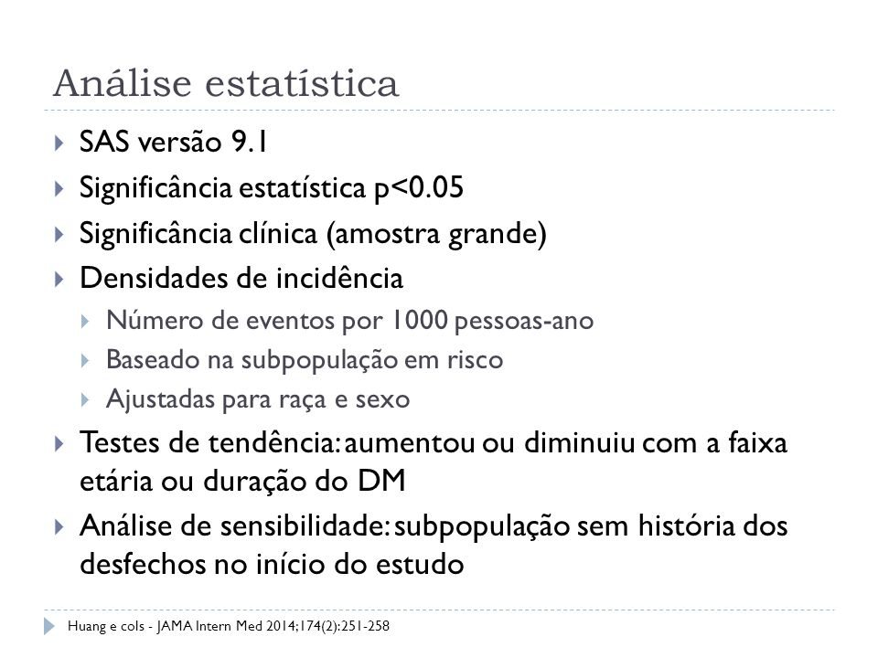 Análise estatística SAS versão 9.1 Significância estatística p<0.05