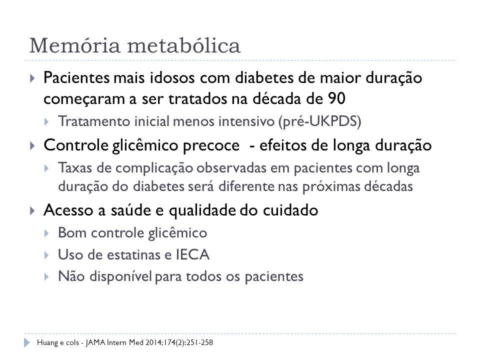 Memória metabólica Pacientes mais idosos com diabetes de maior duração começaram a ser tratados na década de 90.