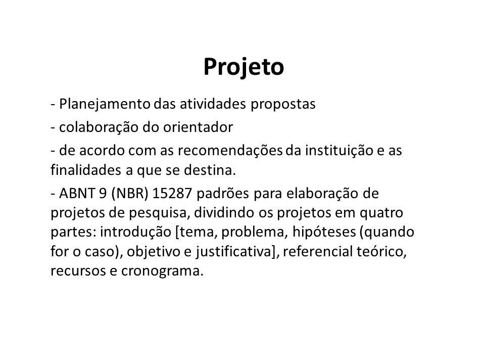 Projeto - Planejamento das atividades propostas