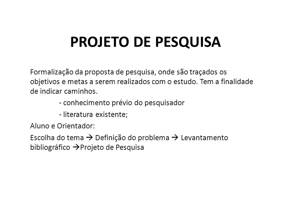 PROJETO DE PESQUISA