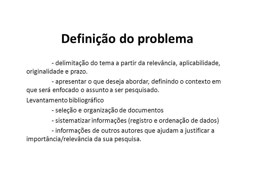 Definição do problema - delimitação do tema a partir da relevância, aplicabilidade, originalidade e prazo.