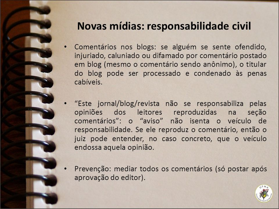Novas mídias: responsabilidade civil