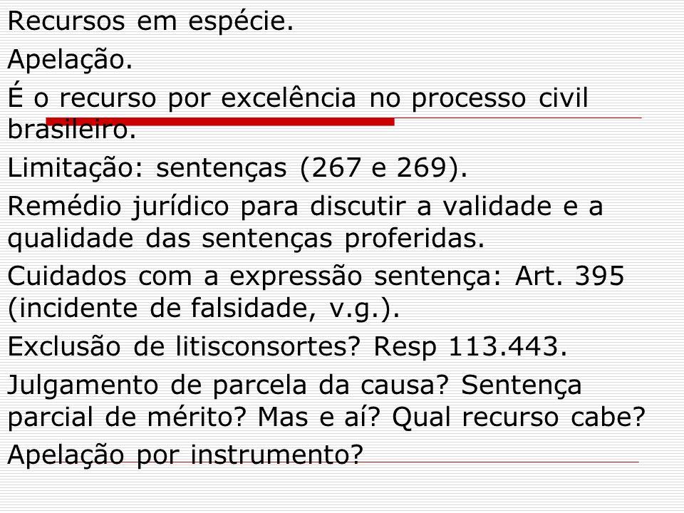 Recursos em espécie. Apelação. É o recurso por excelência no processo civil brasileiro. Limitação: sentenças (267 e 269).
