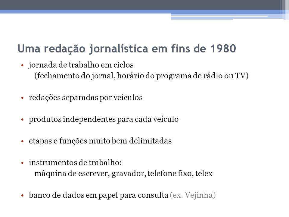 Uma redação jornalística em fins de 1980