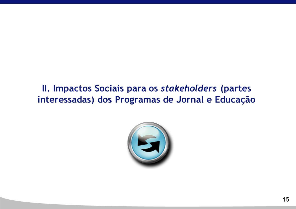 II. Impactos Sociais para os stakeholders (partes interessadas) dos Programas de Jornal e Educação