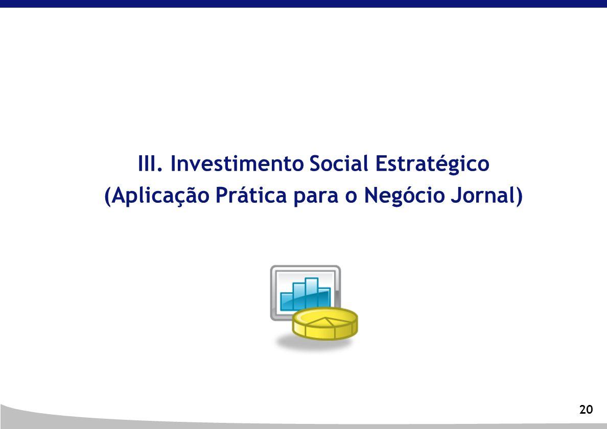 III. Investimento Social Estratégico