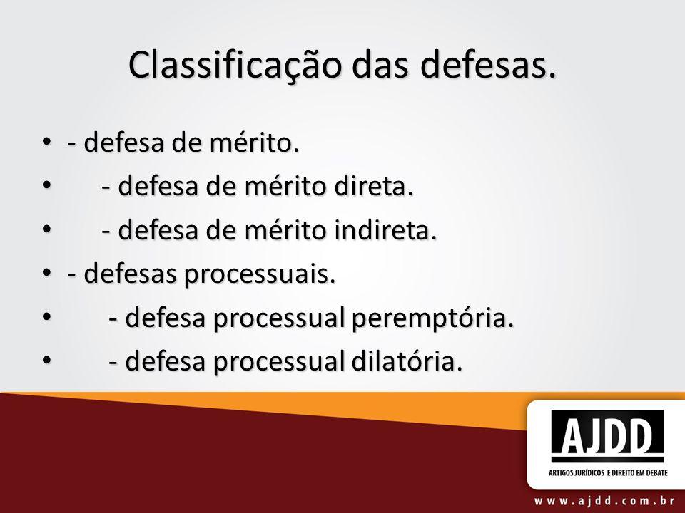 Classificação das defesas.