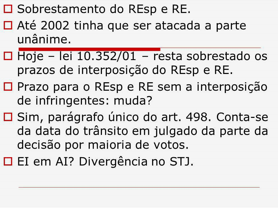 Sobrestamento do REsp e RE.