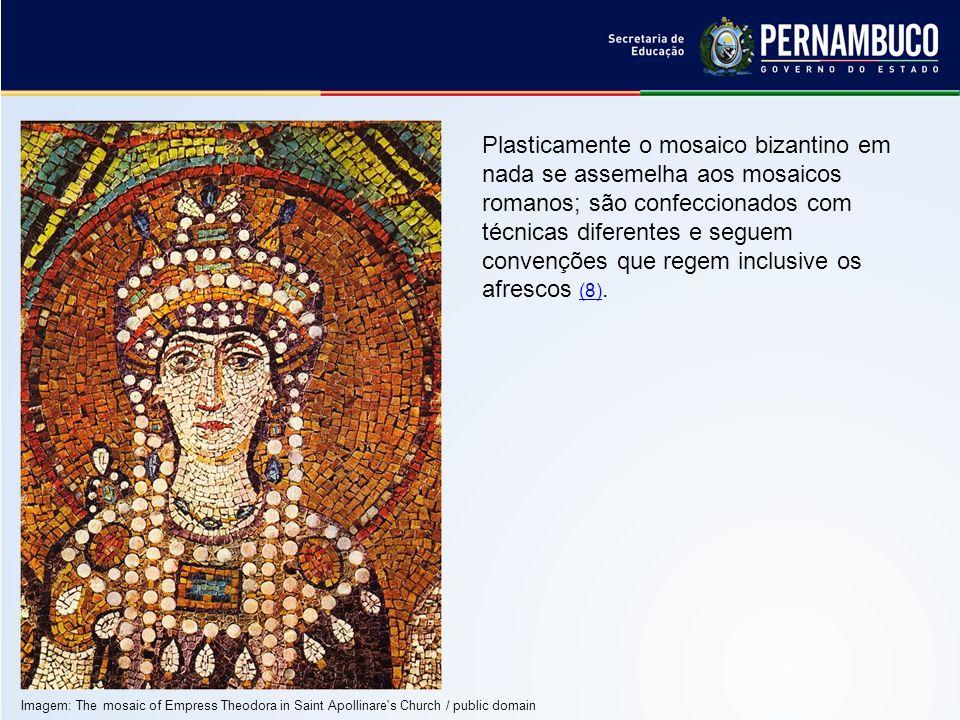 Plasticamente o mosaico bizantino em nada se assemelha aos mosaicos romanos; são confeccionados com técnicas diferentes e seguem convenções que regem inclusive os afrescos (8).