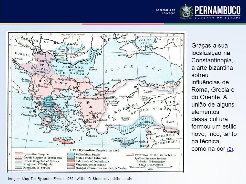 Graças a sua localização na Constantinopla, a arte bizantina sofreu influências de Roma, Grécia e do Oriente. A união de alguns elementos dessa cultura formou um estilo novo, rico, tanto na técnica, como na cor (2).