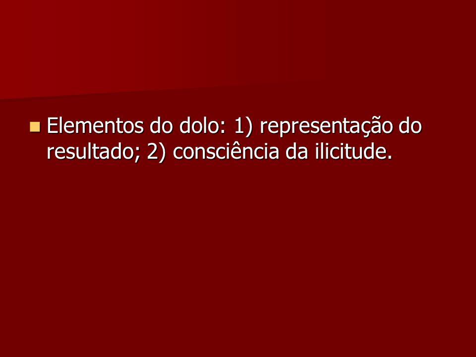 Elementos do dolo: 1) representação do resultado; 2) consciência da ilicitude.