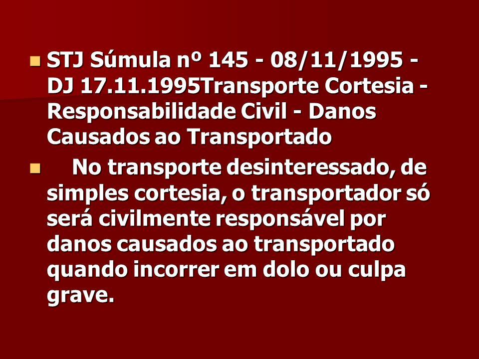 STJ Súmula nº 145 - 08/11/1995 - DJ 17.11.1995Transporte Cortesia - Responsabilidade Civil - Danos Causados ao Transportado