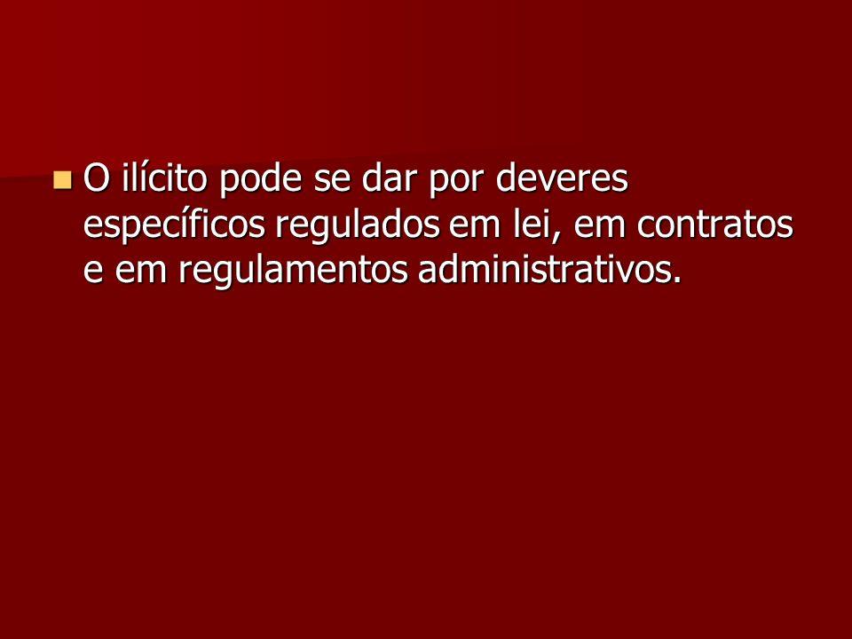 O ilícito pode se dar por deveres específicos regulados em lei, em contratos e em regulamentos administrativos.