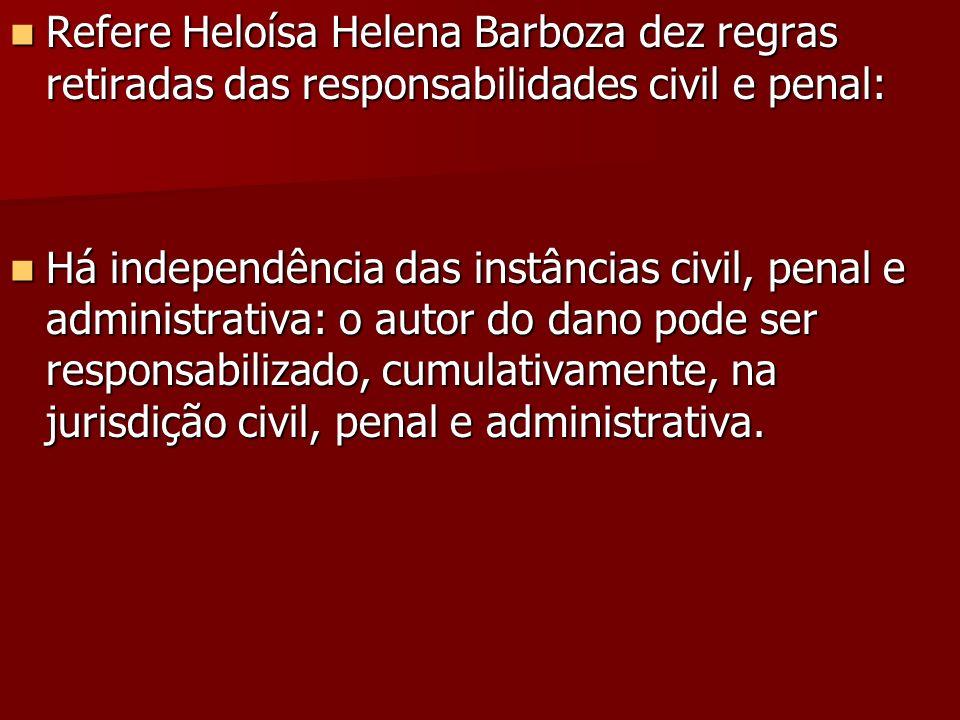 Refere Heloísa Helena Barboza dez regras retiradas das responsabilidades civil e penal: