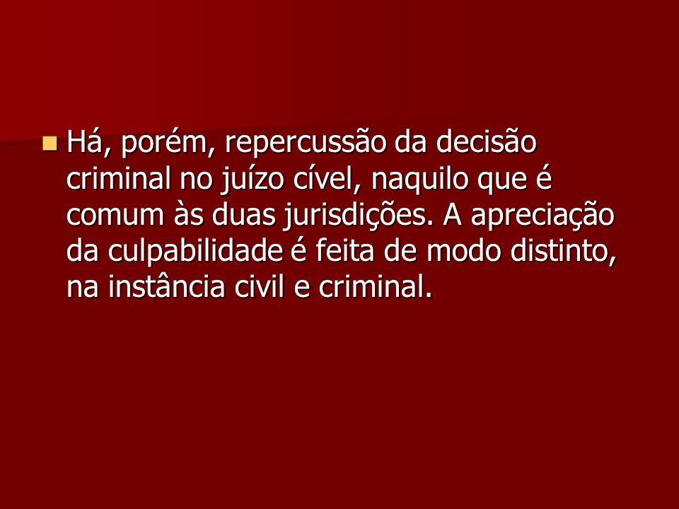 Há, porém, repercussão da decisão criminal no juízo cível, naquilo que é comum às duas jurisdições.