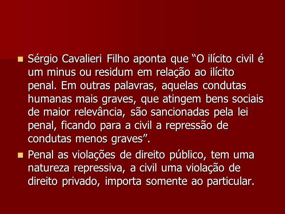 Sérgio Cavalieri Filho aponta que O ilícito civil é um minus ou residum em relação ao ilícito penal. Em outras palavras, aquelas condutas humanas mais graves, que atingem bens sociais de maior relevância, são sancionadas pela lei penal, ficando para a civil a repressão de condutas menos graves .