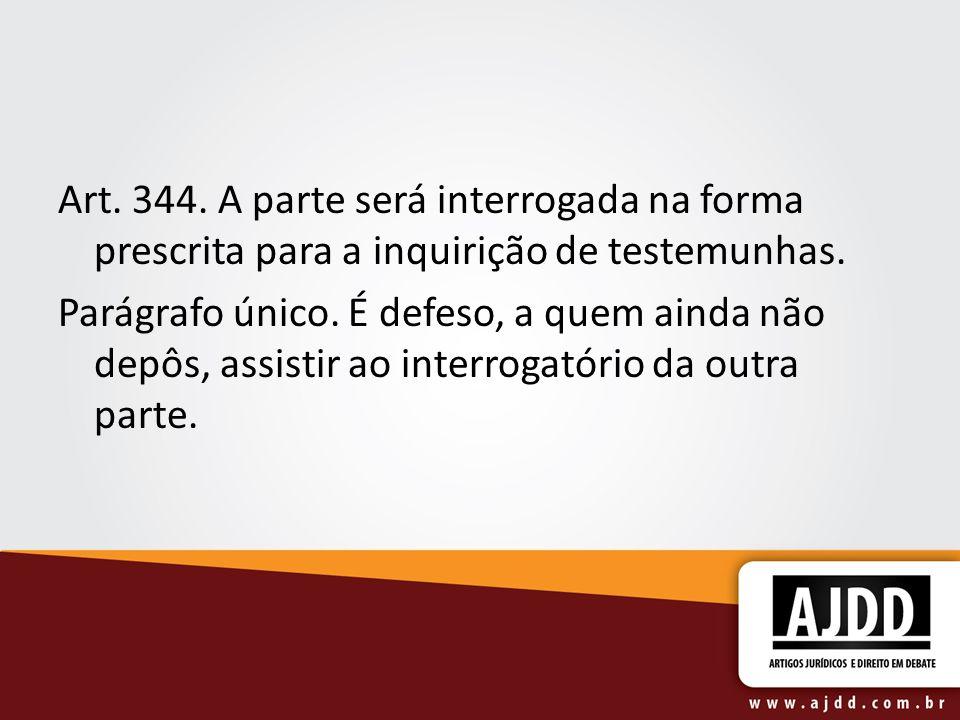 Art. 344. A parte será interrogada na forma prescrita para a inquirição de testemunhas.