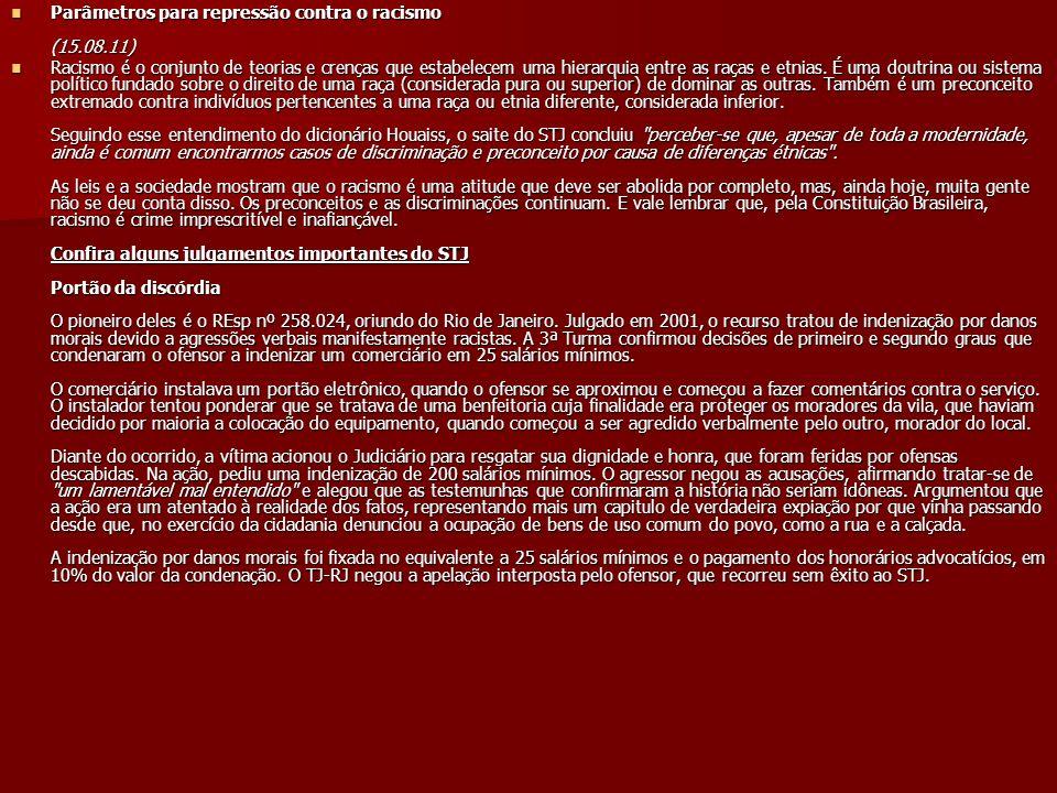 Parâmetros para repressão contra o racismo (15.08.11)