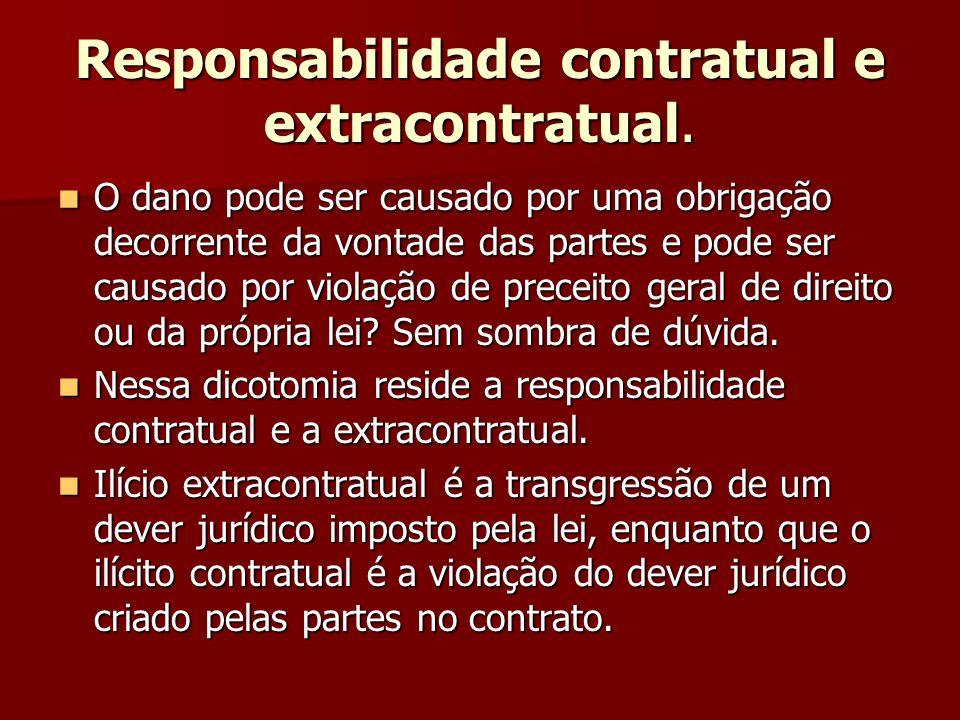 Responsabilidade contratual e extracontratual.