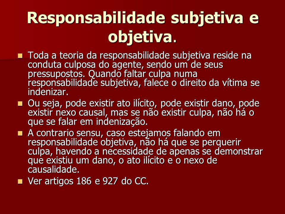 Responsabilidade subjetiva e objetiva.