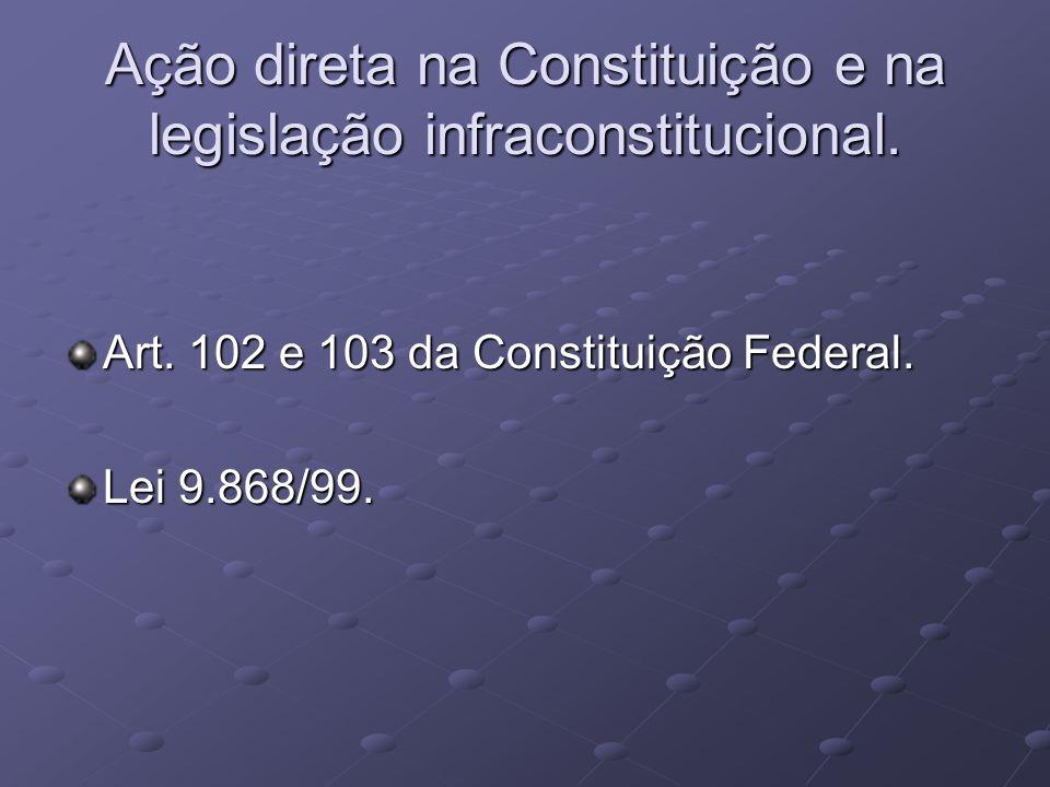 Ação direta na Constituição e na legislação infraconstitucional.