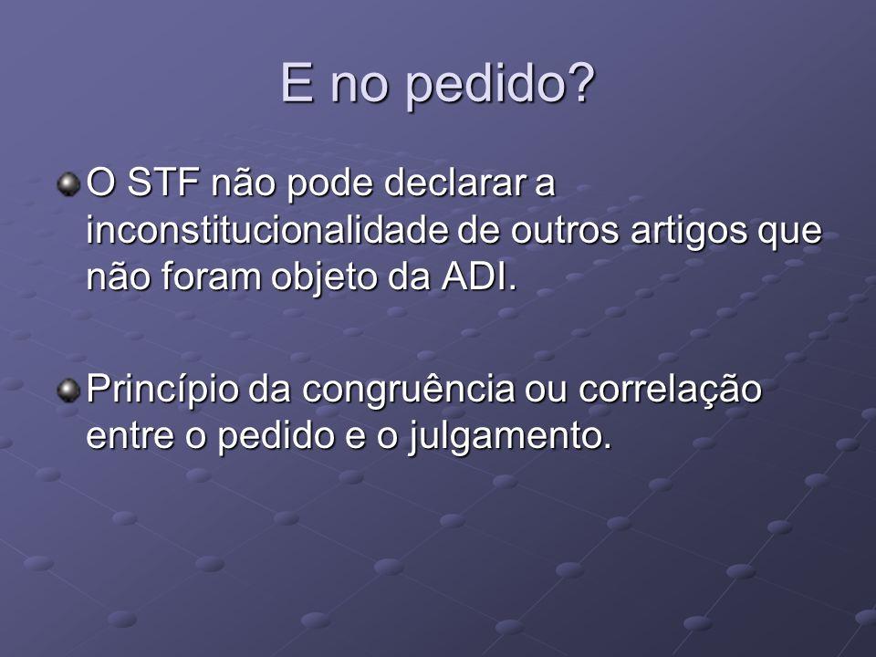 E no pedido O STF não pode declarar a inconstitucionalidade de outros artigos que não foram objeto da ADI.