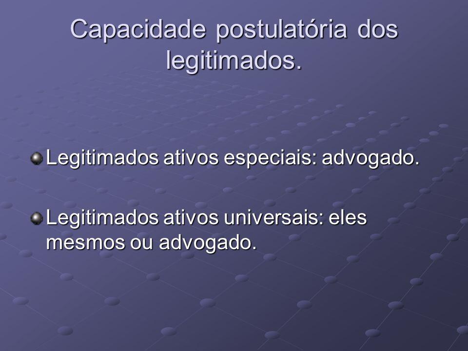 Capacidade postulatória dos legitimados.