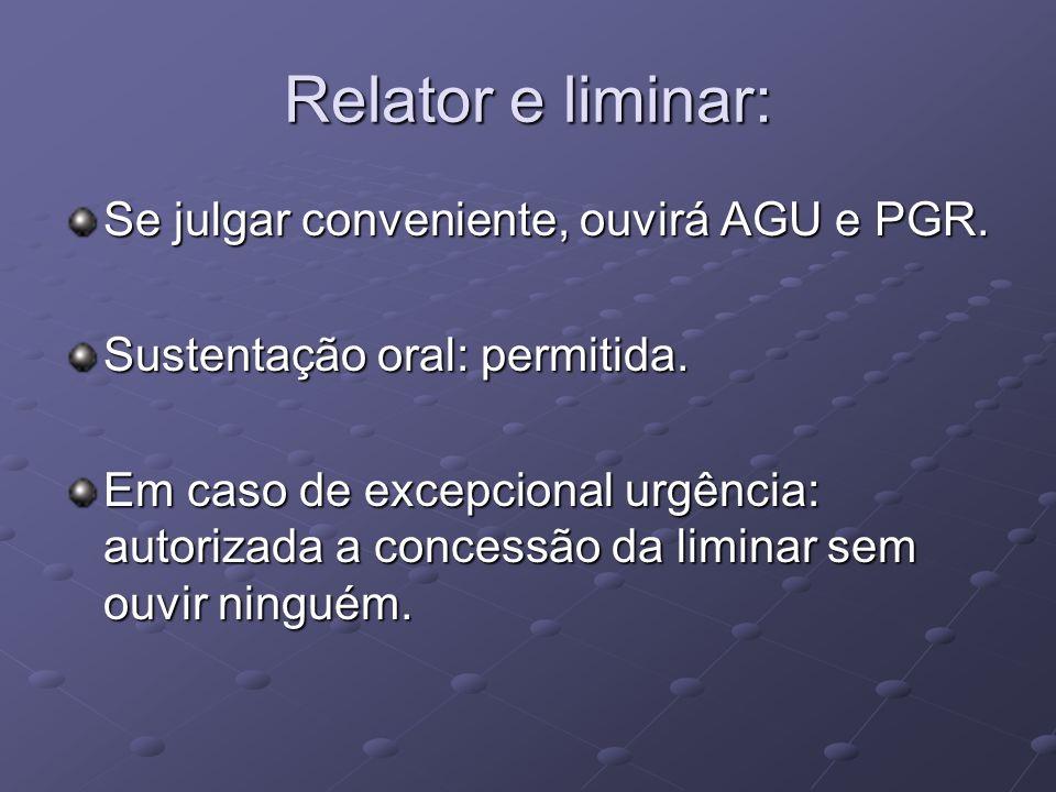Relator e liminar: Se julgar conveniente, ouvirá AGU e PGR.
