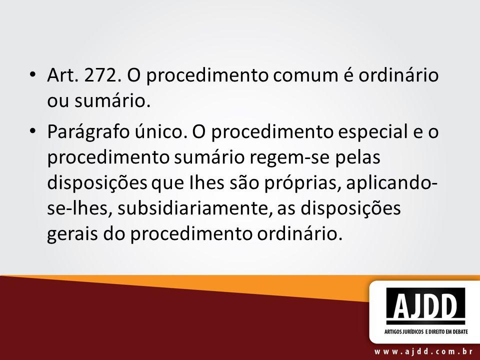 Art. 272. O procedimento comum é ordinário ou sumário.