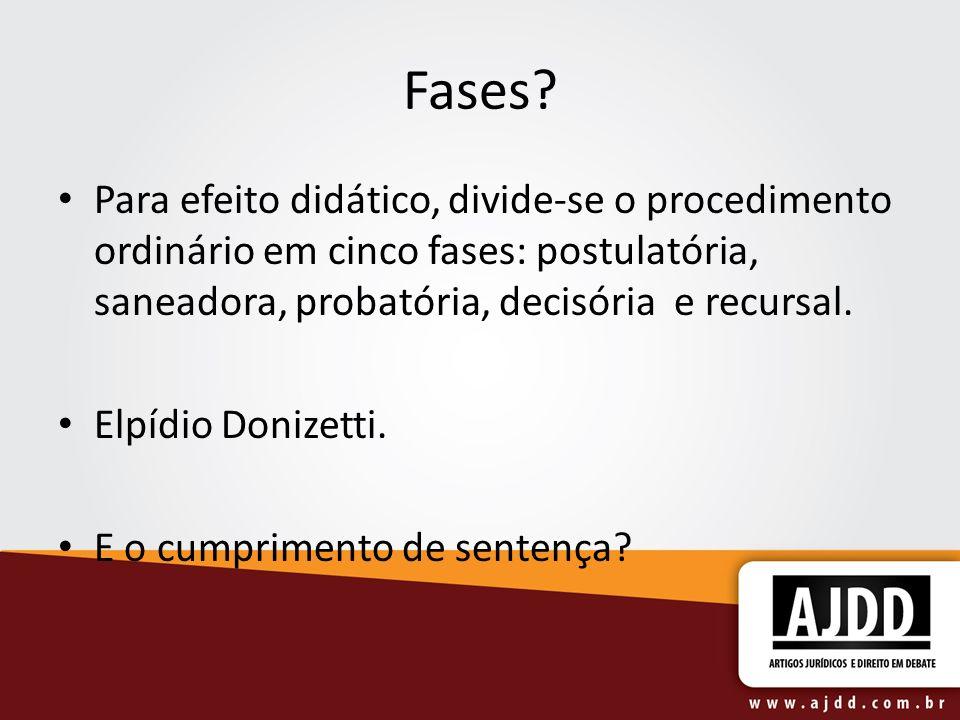 Fases Para efeito didático, divide-se o procedimento ordinário em cinco fases: postulatória, saneadora, probatória, decisória e recursal.