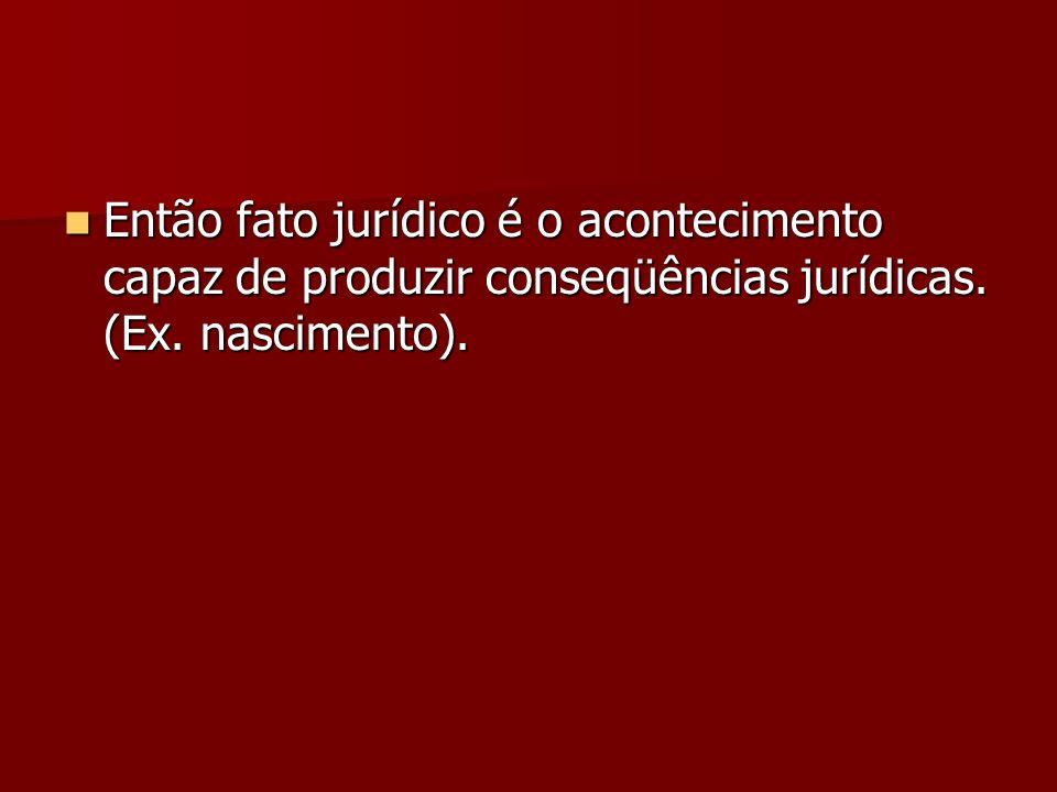 Então fato jurídico é o acontecimento capaz de produzir conseqüências jurídicas. (Ex. nascimento).