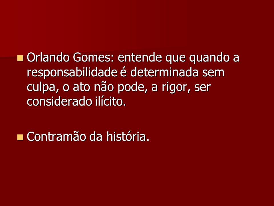 Orlando Gomes: entende que quando a responsabilidade é determinada sem culpa, o ato não pode, a rigor, ser considerado ilícito.