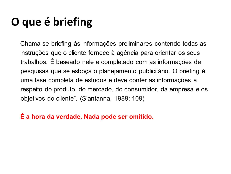 O que é briefing Chama-se briefing às informações preliminares contendo todas as.