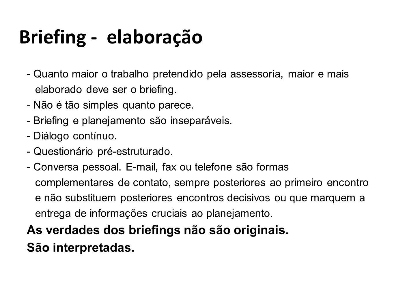 Briefing - elaboração As verdades dos briefings não são originais.
