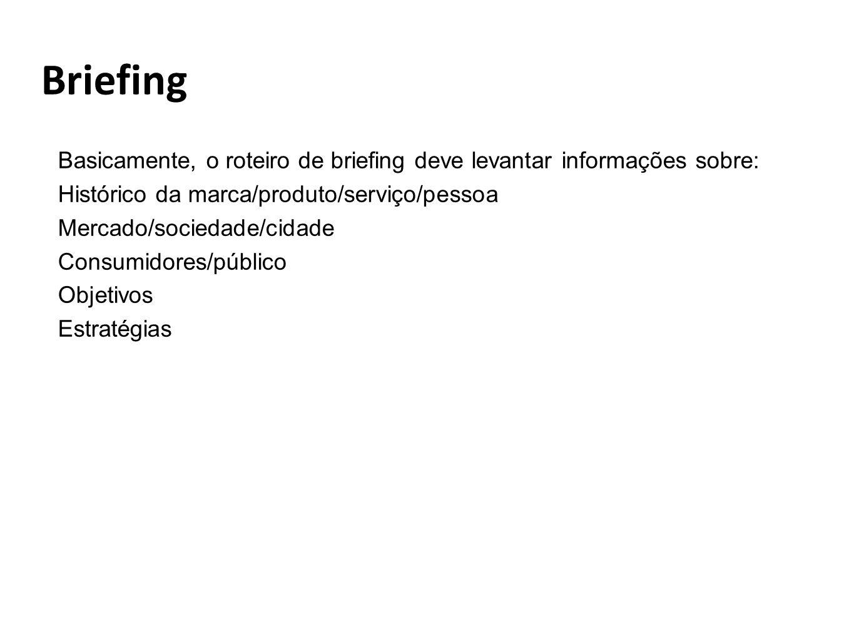 Briefing Basicamente, o roteiro de briefing deve levantar informações sobre: Histórico da marca/produto/serviço/pessoa.