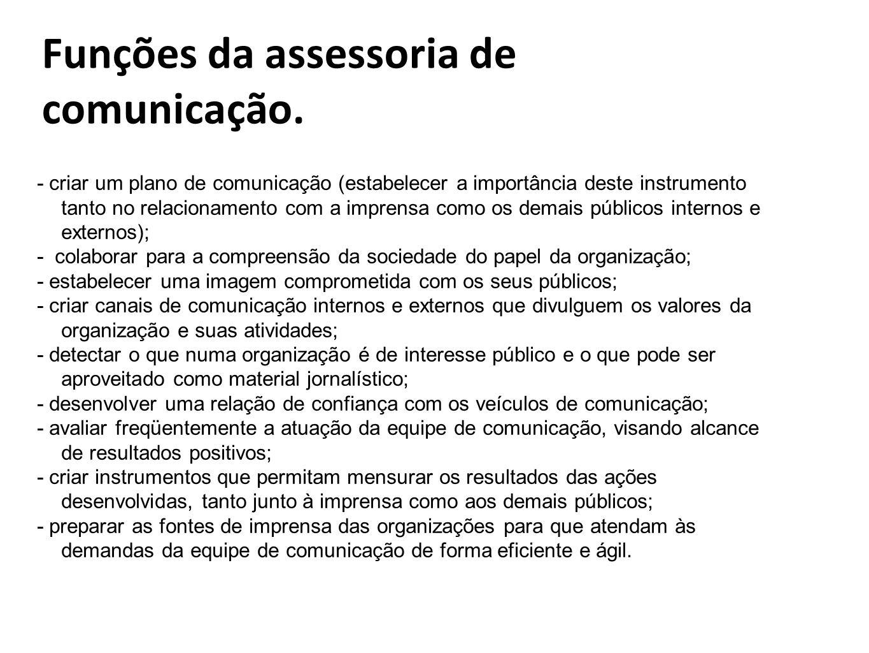 Funções da assessoria de comunicação.
