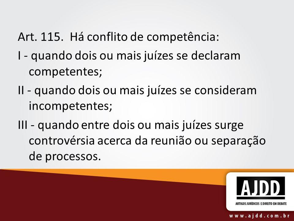 Art. 115. Há conflito de competência: