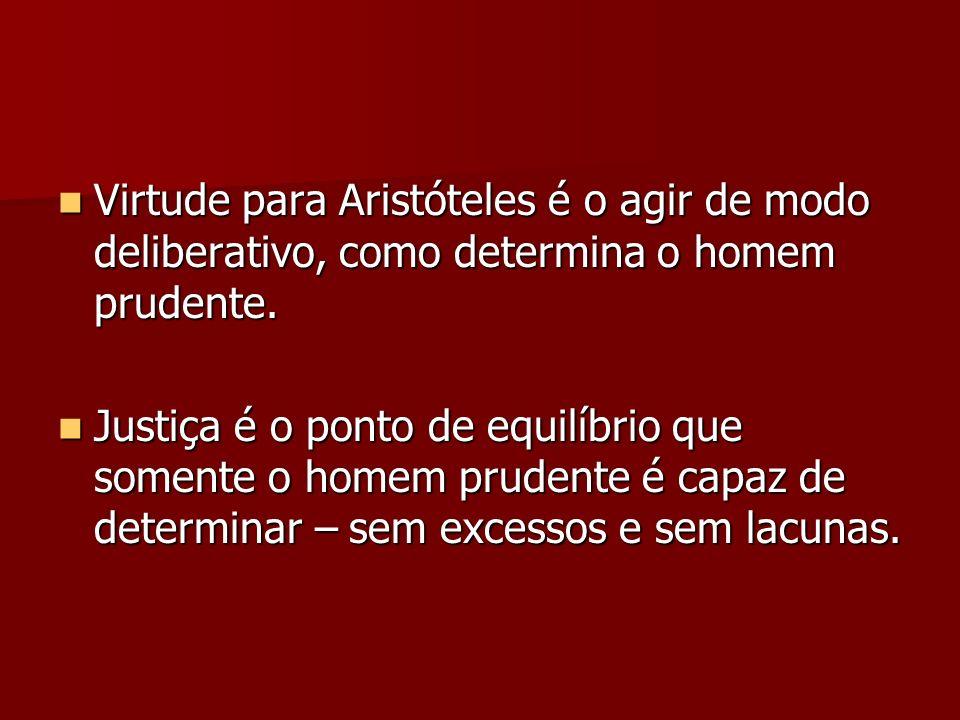Virtude para Aristóteles é o agir de modo deliberativo, como determina o homem prudente.