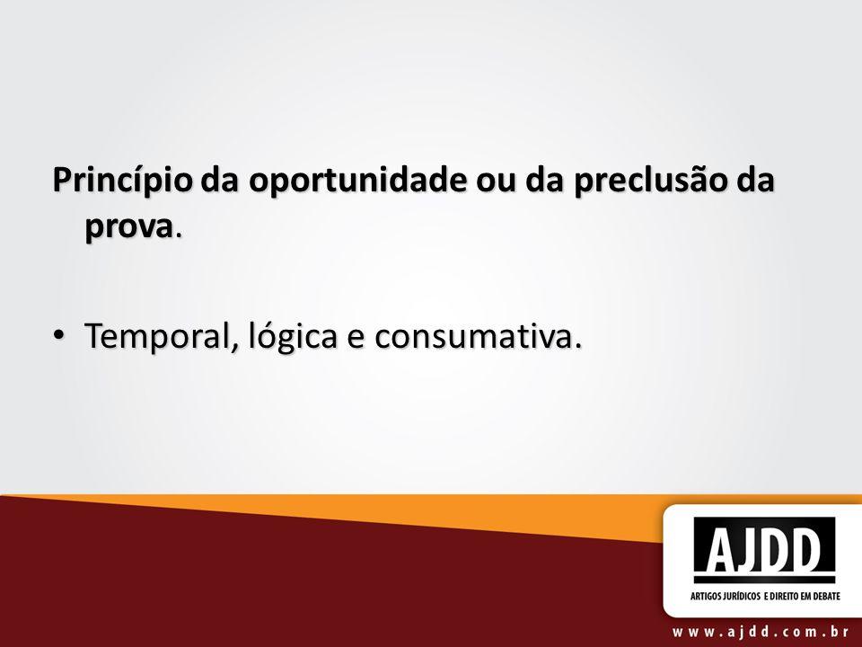 Princípio da oportunidade ou da preclusão da prova.