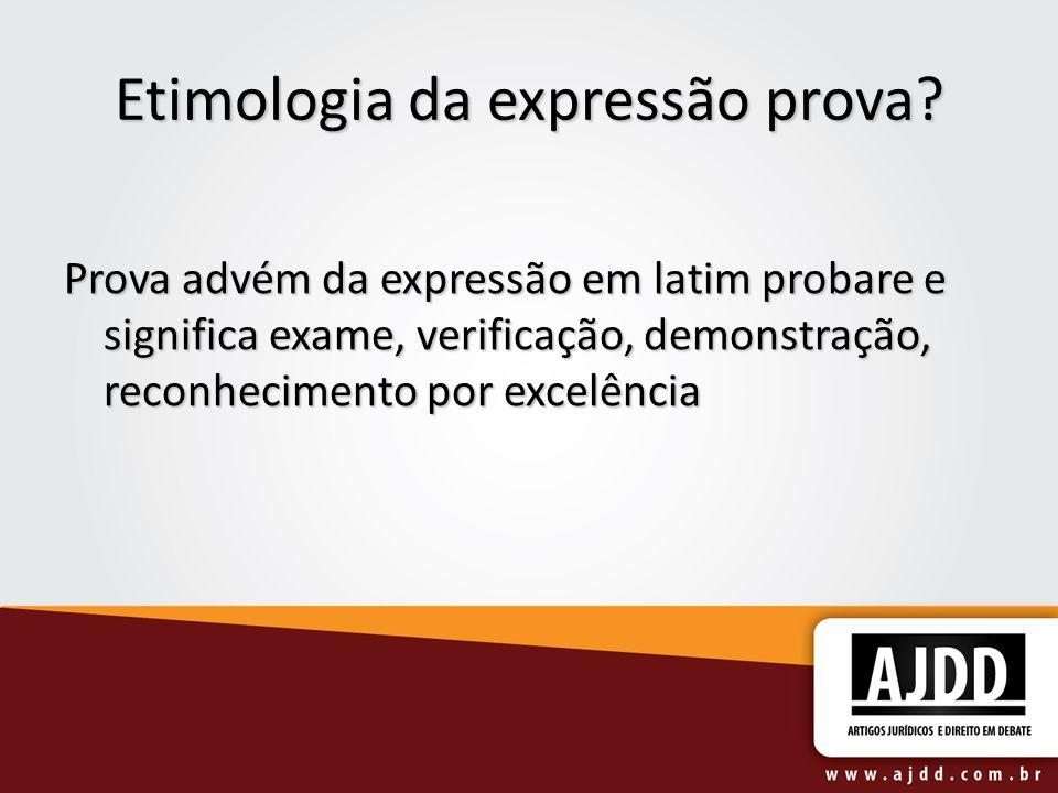 Etimologia da expressão prova