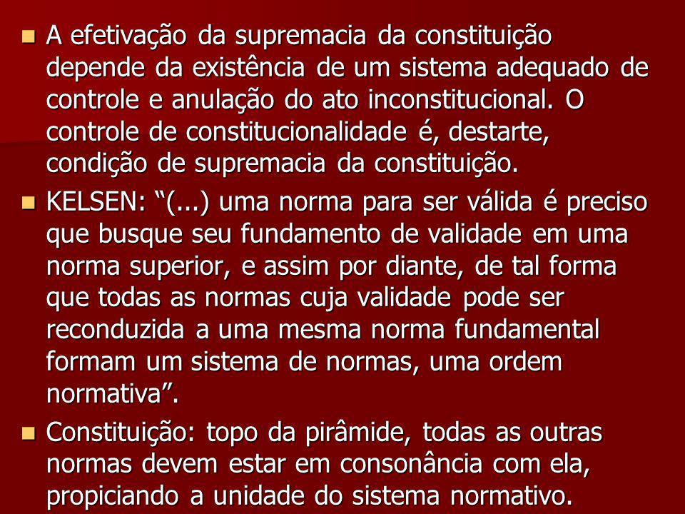 A efetivação da supremacia da constituição depende da existência de um sistema adequado de controle e anulação do ato inconstitucional. O controle de constitucionalidade é, destarte, condição de supremacia da constituição.