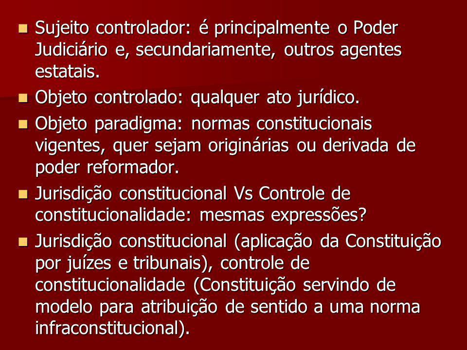Sujeito controlador: é principalmente o Poder Judiciário e, secundariamente, outros agentes estatais.