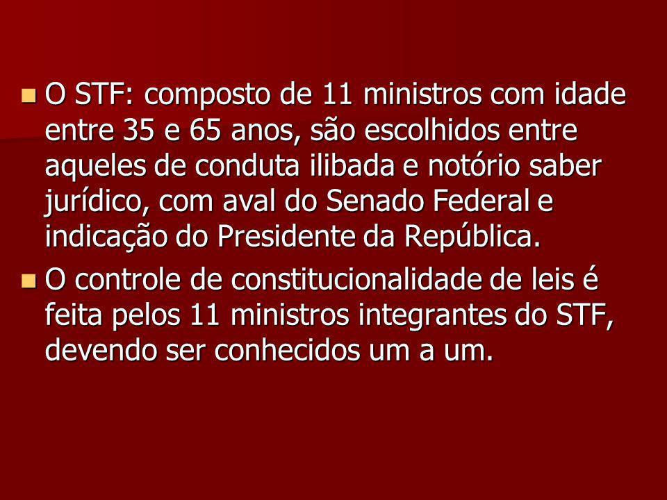 O STF: composto de 11 ministros com idade entre 35 e 65 anos, são escolhidos entre aqueles de conduta ilibada e notório saber jurídico, com aval do Senado Federal e indicação do Presidente da República.