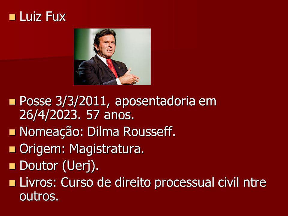 Luiz Fux Posse 3/3/2011, aposentadoria em 26/4/2023. 57 anos. Nomeação: Dilma Rousseff. Origem: Magistratura.