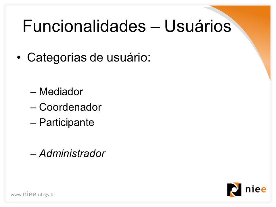 Funcionalidades – Usuários