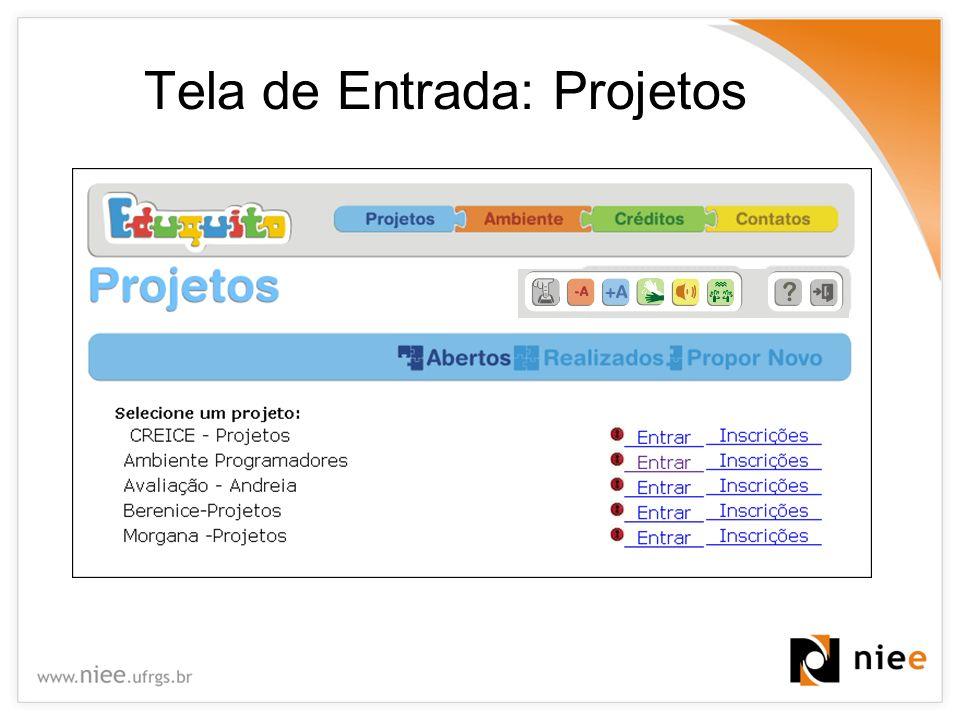 Tela de Entrada: Projetos