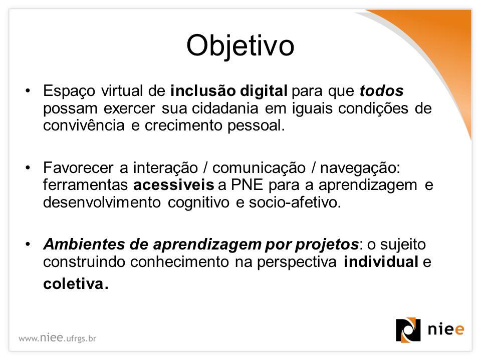 Objetivo Espaço virtual de inclusão digital para que todos possam exercer sua cidadania em iguais condições de convivência e crecimento pessoal.